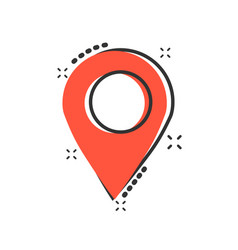 pin map icon in comic style cartoon gps vector image