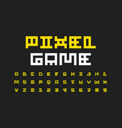 pixel video game font vector image