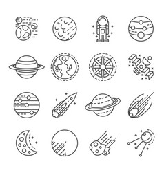 Planets icon set outline style vector