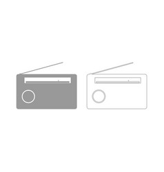 Radio the grey set icon vector