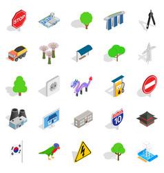 Roadside icons set isometric style vector