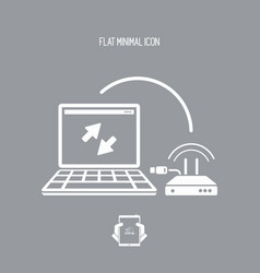 router and laptop connection - flat minimal icon vector image