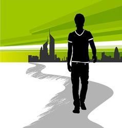 Running man in city vector