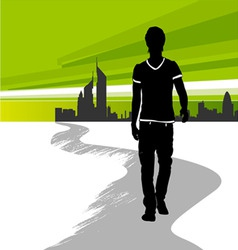 running man in the city vector image