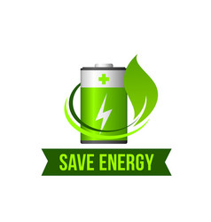 Save green energy leaf battery icon vector