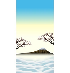 Scene with snowtop on mountain vector