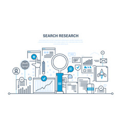 search research analysis of information services vector image