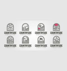 Set cottage line art logo minimal design line vector