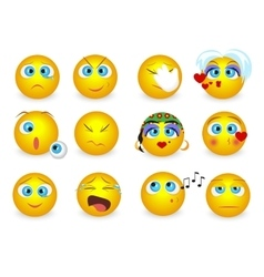 set emoji emoticons face icons isolated vector image