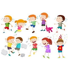 Set of children crying and fighting vector image