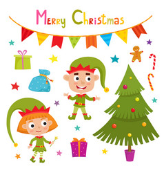 set of cute little christmas elf vector image