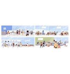 set scenes with people in modern international vector image