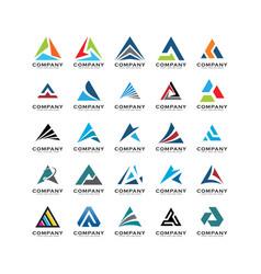 set triangle logo abstracta triangle logo vector image