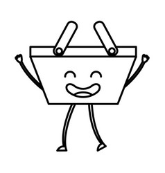 Shopping basket kawaii character vector