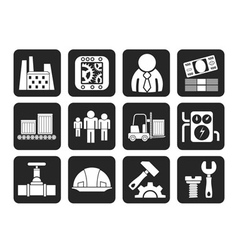 Silhouette factory and mill icons vector