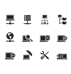 Silhouette server and hosting icons vector