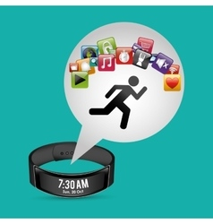 Smart wristband tracker fitness green background vector