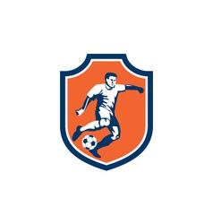 Soccer Player Kicking Ball Shield Retro vector
