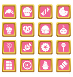 sweets candy cakes icons set pink square vector image