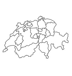 Switzerland map with kanton of black contour vector