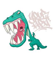 T-rex dinosaur writing graffiti vector