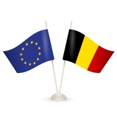 Table stand with flags of EU and Belgia vector image