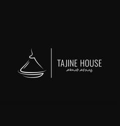 Tajine or tagine logo on black background vector