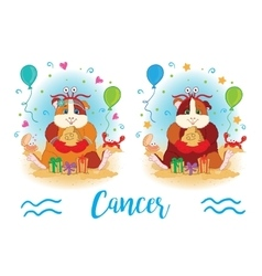 The signs of the zodiac Guinea pig Cancer vector
