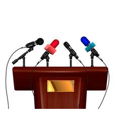 Tribune and microphones design concept vector