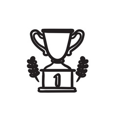 Trophy sketch icon vector