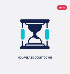 Two color hourglass countdown icon from commerce vector