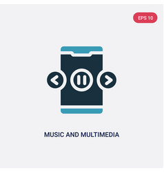 two color music and multimedia icon from mobile vector image