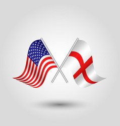 Two crossed american and english flags vector