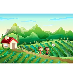 Two kids catching butterflies at the farm vector image vector image
