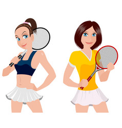 Two tennis player vector