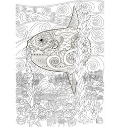 Underwater moon fish in zentangle vector