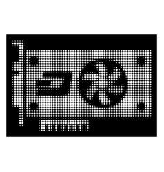 White halftone dash video gpu card icon vector