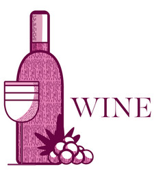 Wine bottle and cup with grapes vector