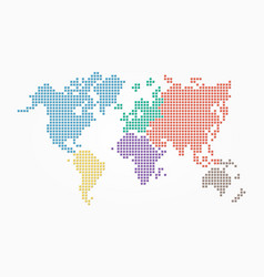 World map pixel style and flat color design vector