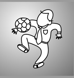 businessman playing soccer doodle vector image