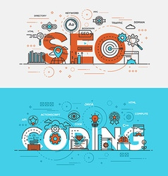 Flat design line concept banner Seo and vector image vector image