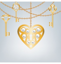 Gray background with pearl gold keys vector image