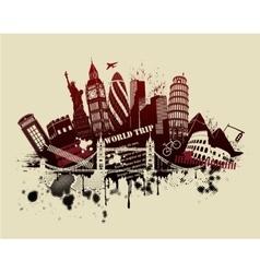 international sites in grunge vector image