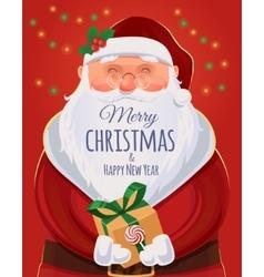 Santa Claus Christmas greeting card poster vector image
