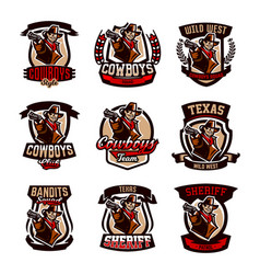 a set of colorful emblems logos cowboy with a vector image vector image