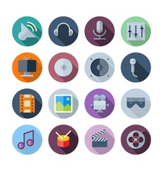 Flat Design Icons For Sound and Music vector image