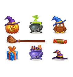 funny cartoon halloween icons vector image vector image