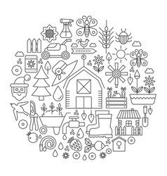 gardening in circle - concept line vector image