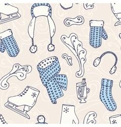 Hand drawn winter accessories seamless pattern vector