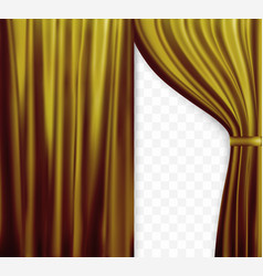 naturalistic image of curtain open curtains gold vector image vector image
